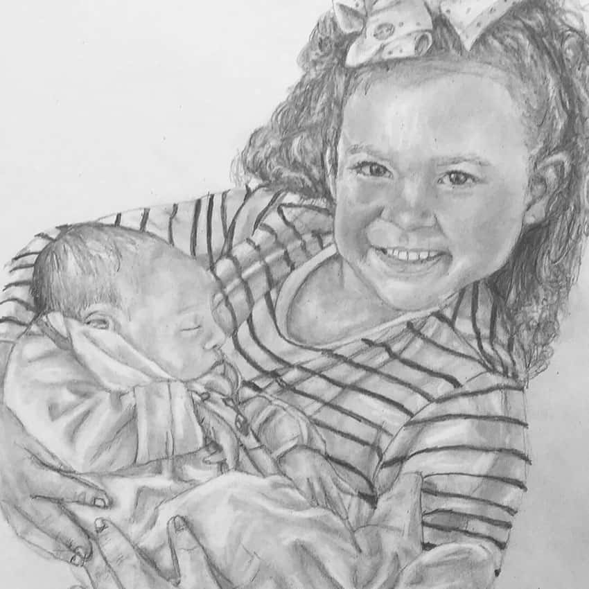 girl and baby pencil portrait