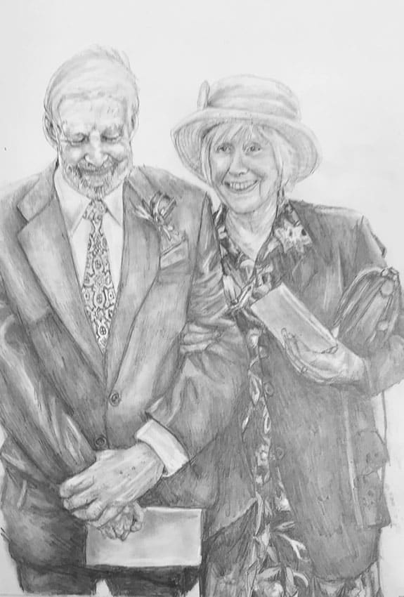 hand drawn portrait of old people