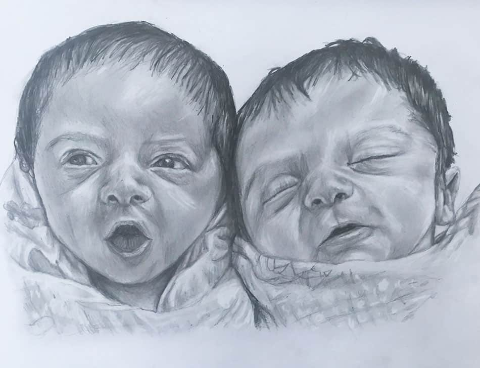 pencil portrait of babies