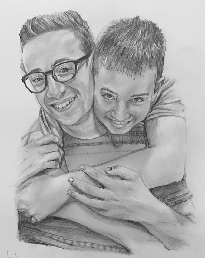 two boys hand drawn pencil portrait