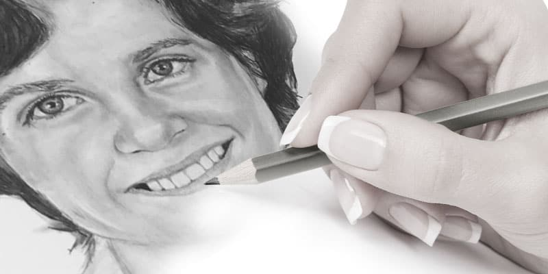 hand drawn portraits in pencil