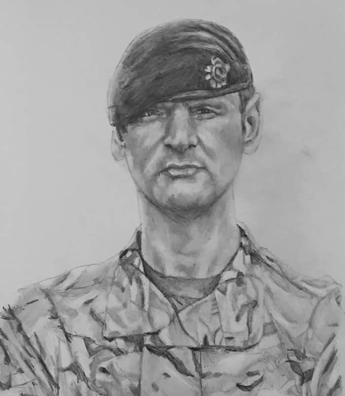 pencil portrait of a soldier