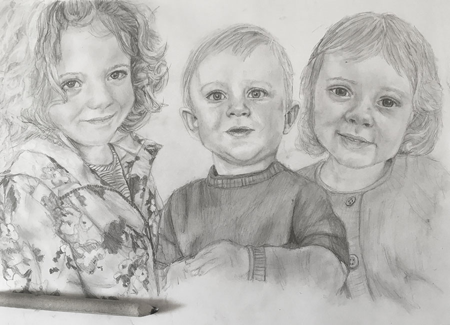 pencil portrait of three children