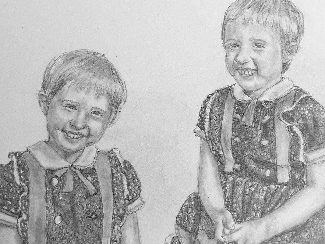 2 girls pencil portrait