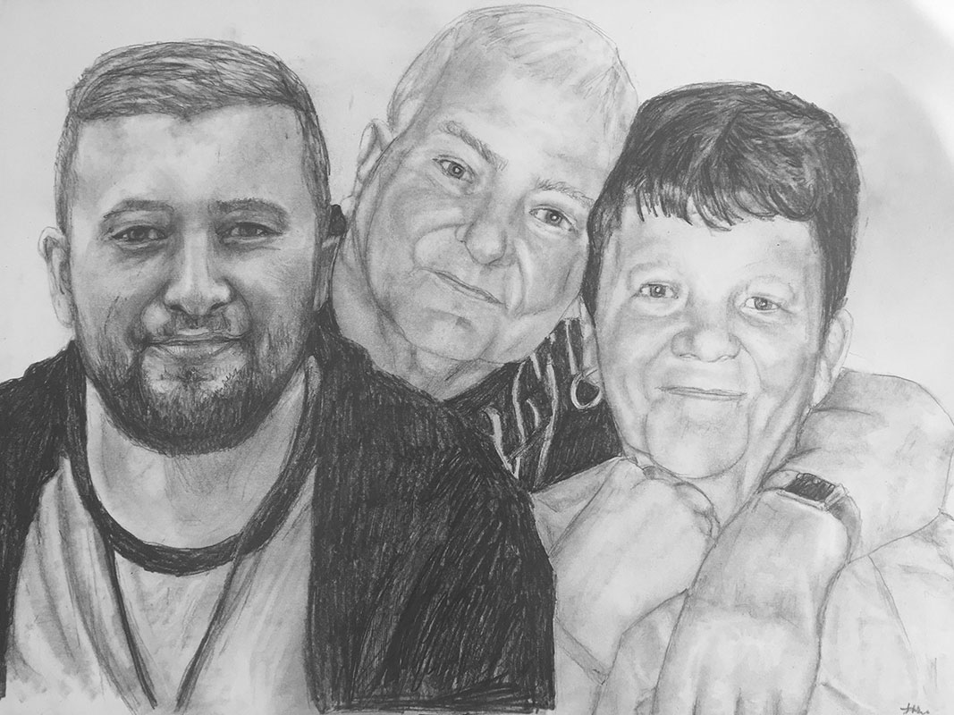 family of three pencil portrait