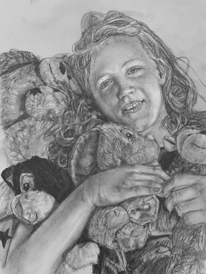 girl with teddy pencil portrait