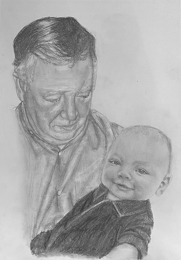 grandfather and baby pencil portrait