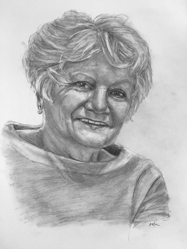 happy woman pencil portrait
