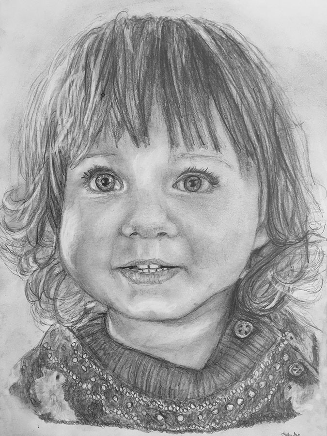 little girl pencil portrait