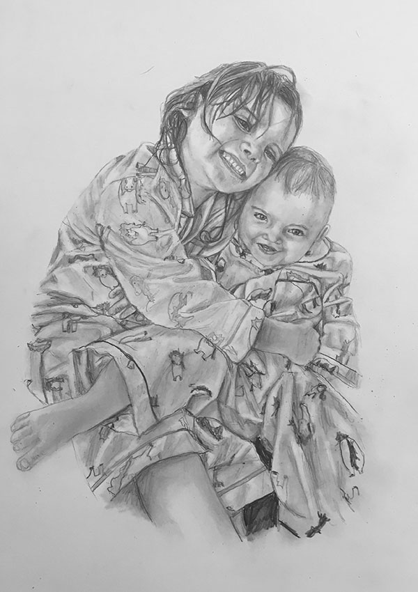 siblings pencil portrait