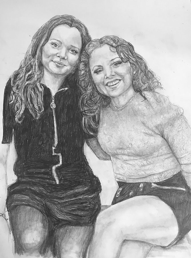 teenagers pencil portrait