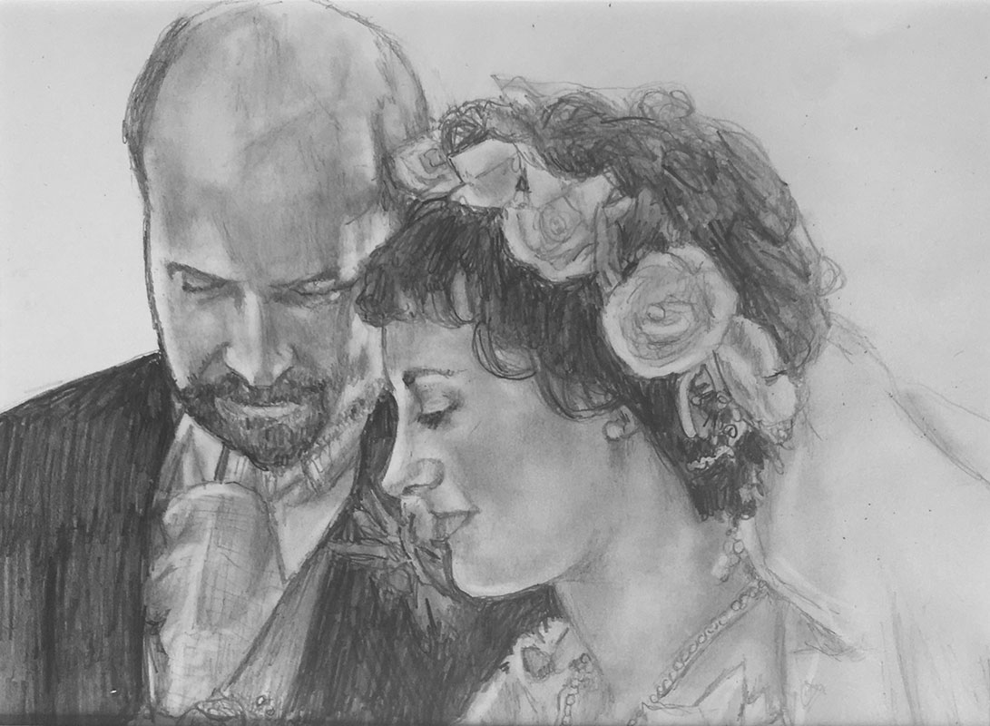 wedding couple pencil portrait