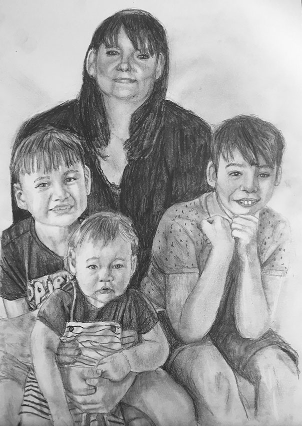 young family pencil portrait