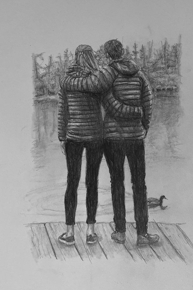 pencil portrait couple cuddling