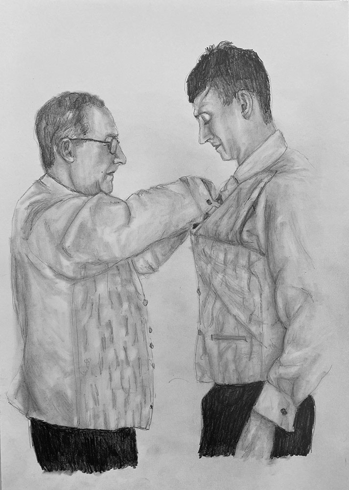 pencil portrait wedding day groom