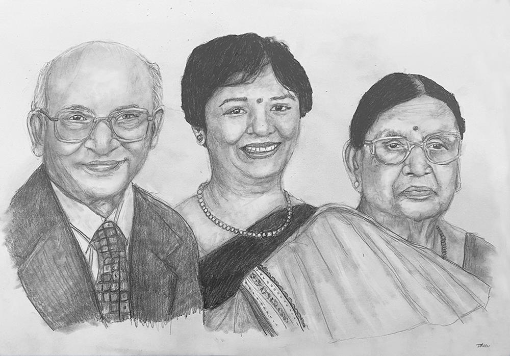asian family pencil portrait