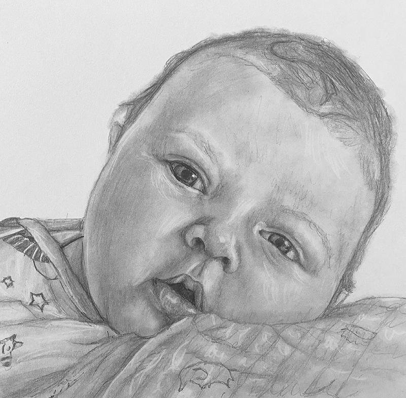baby face pencil portrait