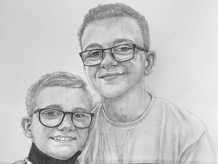 brothers pencil portrait