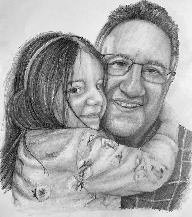 dad and daughter pencil portrait