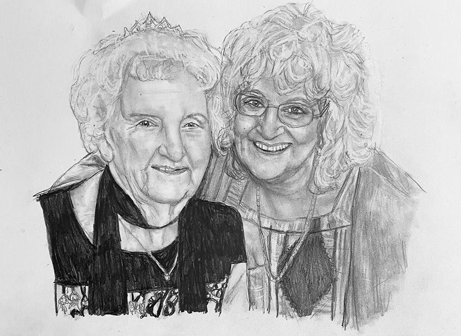 daughter and mum pencil portrait