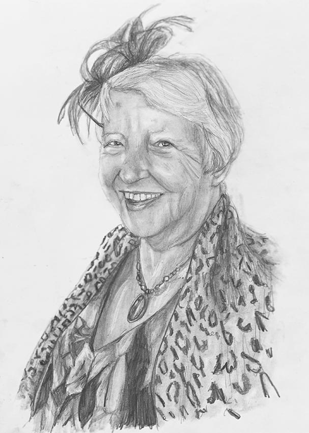 dressed up woman pencil portrait