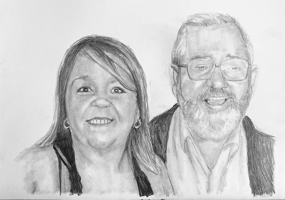 father and daughter pencil portrait