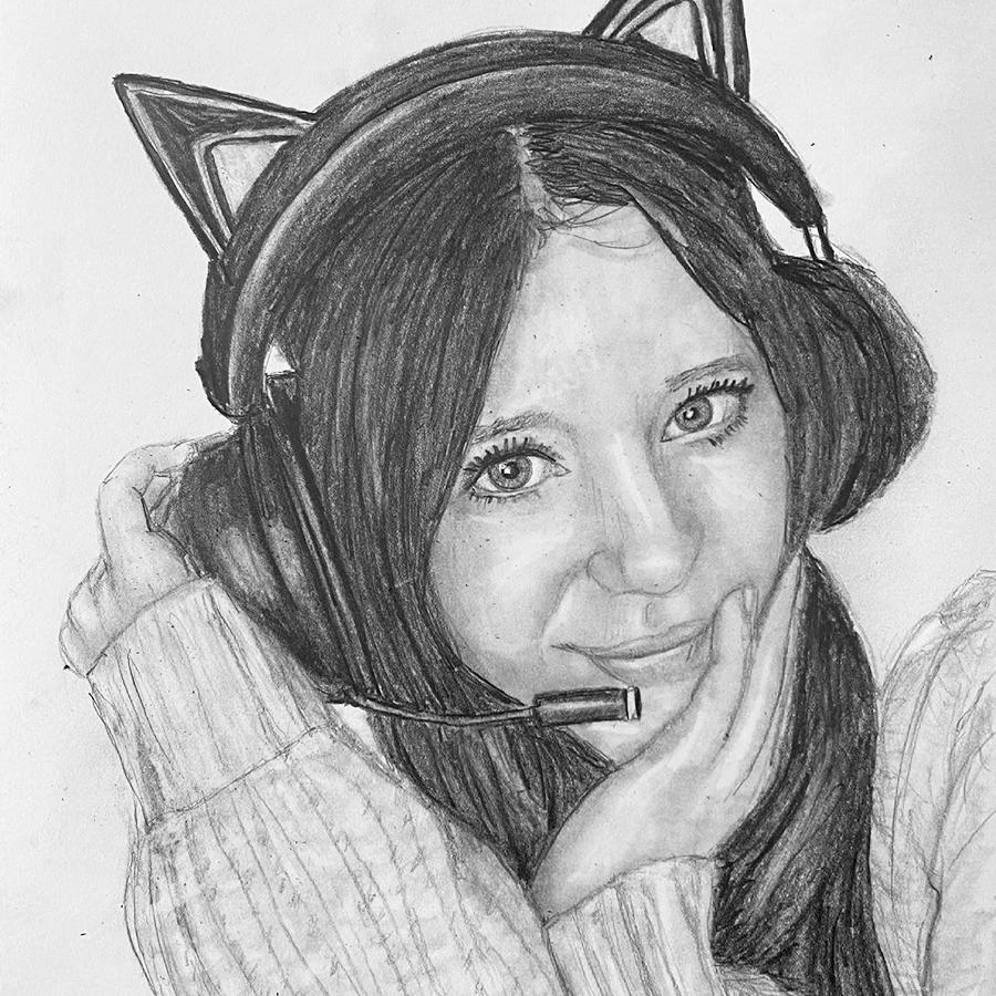 girl with headphones pencil portrait