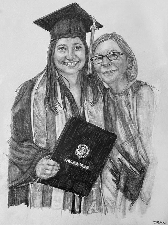 graduation pencil portrait