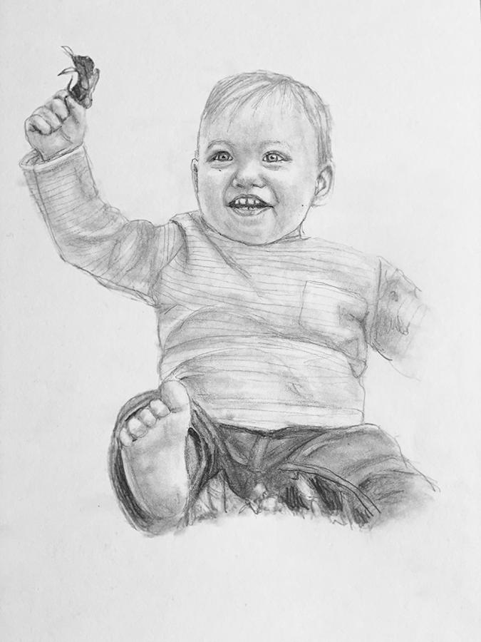 happy baby pencil portrait