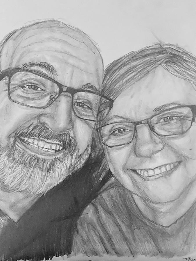 happy couple pencil portrait