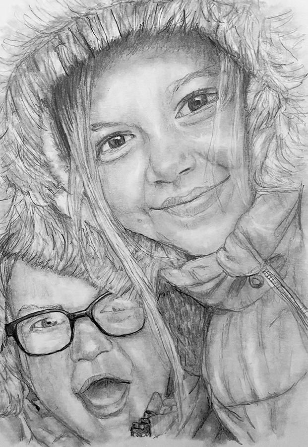 happy sisters pencil portrait