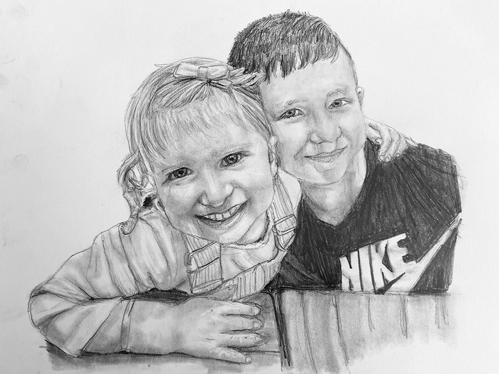 lovely siblings pencil portrait
