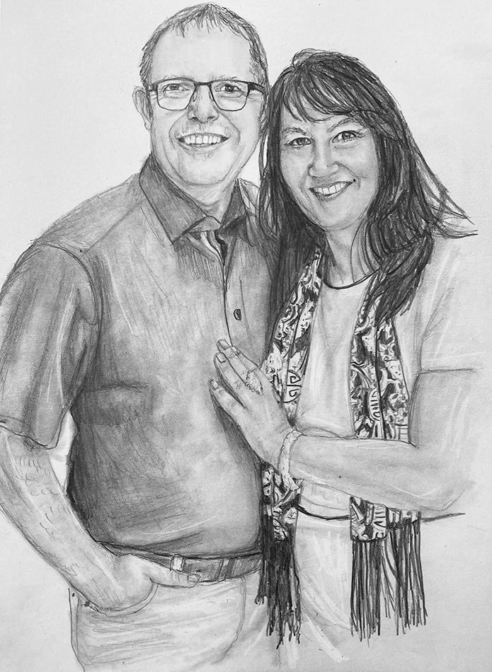 man woman pencil portrait