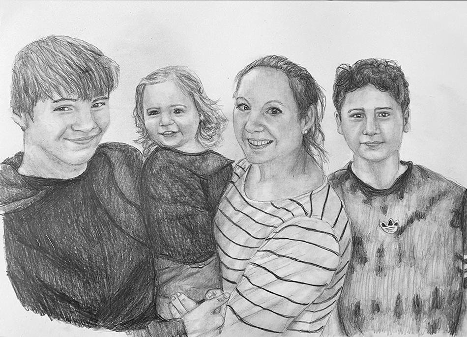 mum and kids pencil portrait