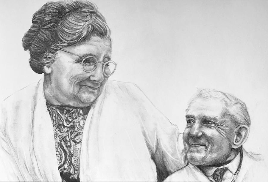 nan and grandad pencil portrait