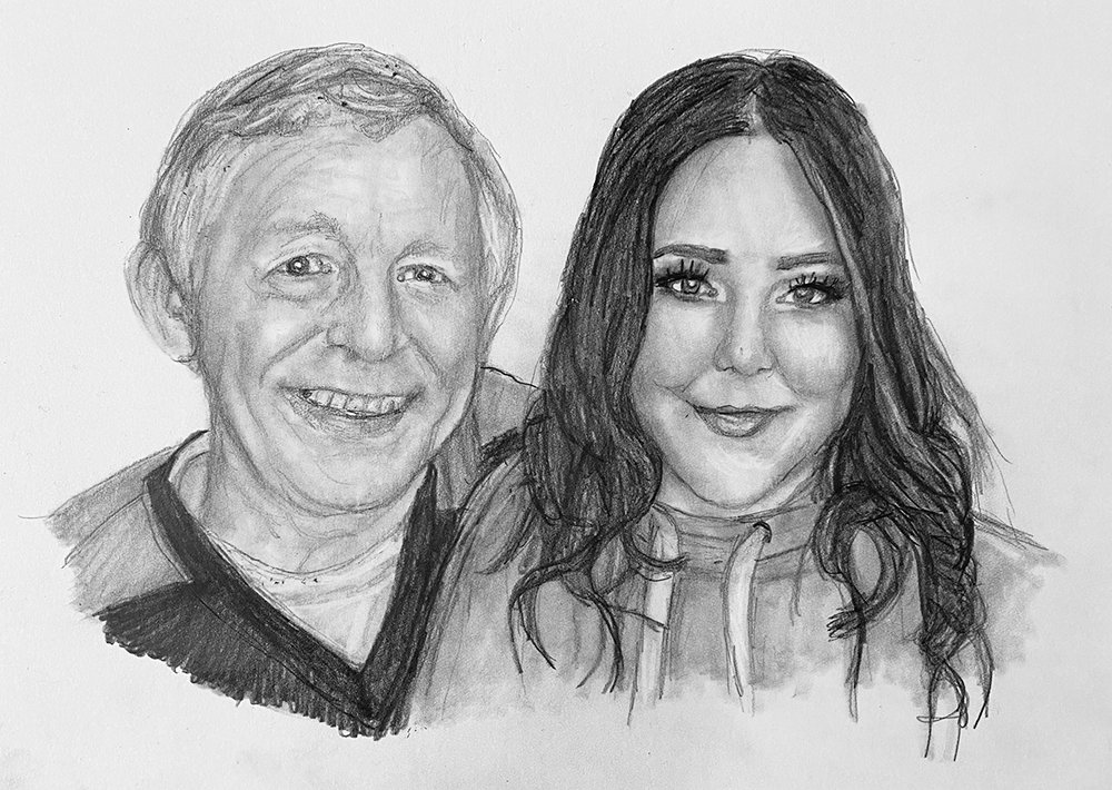 proud father with daughter pencil portrait