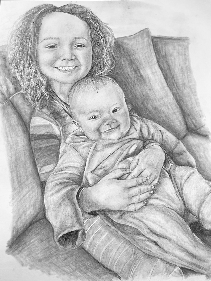 sister and baby pencil portrait