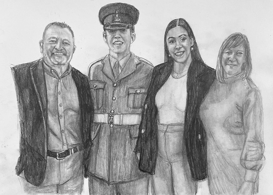soldier and family pencil portrait